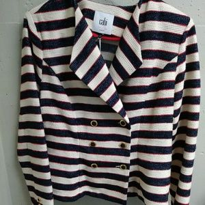 CABI~ 🆕~ red white blue (navy) woven blazer